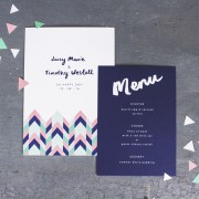 geometric love invite & menu
