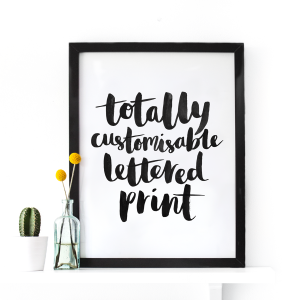 personalisable brush lettered print